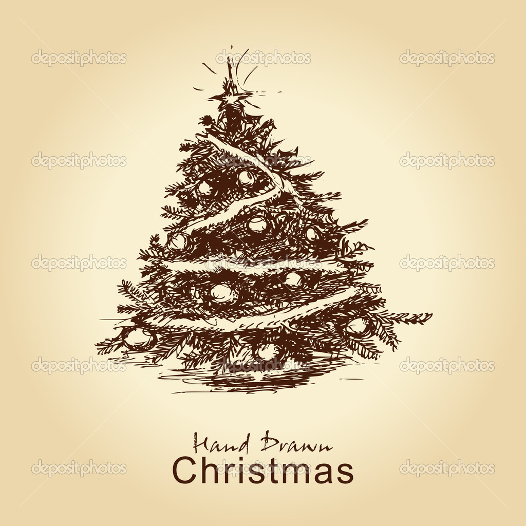 Hand drawn vintage christmas tree for xmas design, with balls — Imagen vectorial #7399337