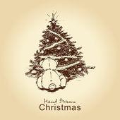 Teddy bear and christmas tree — Stock Vector