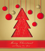 Gold and red christmas postcard — Stock Photo