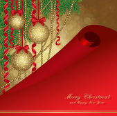 Christmas card with fir tree and balls — Vetorial Stock