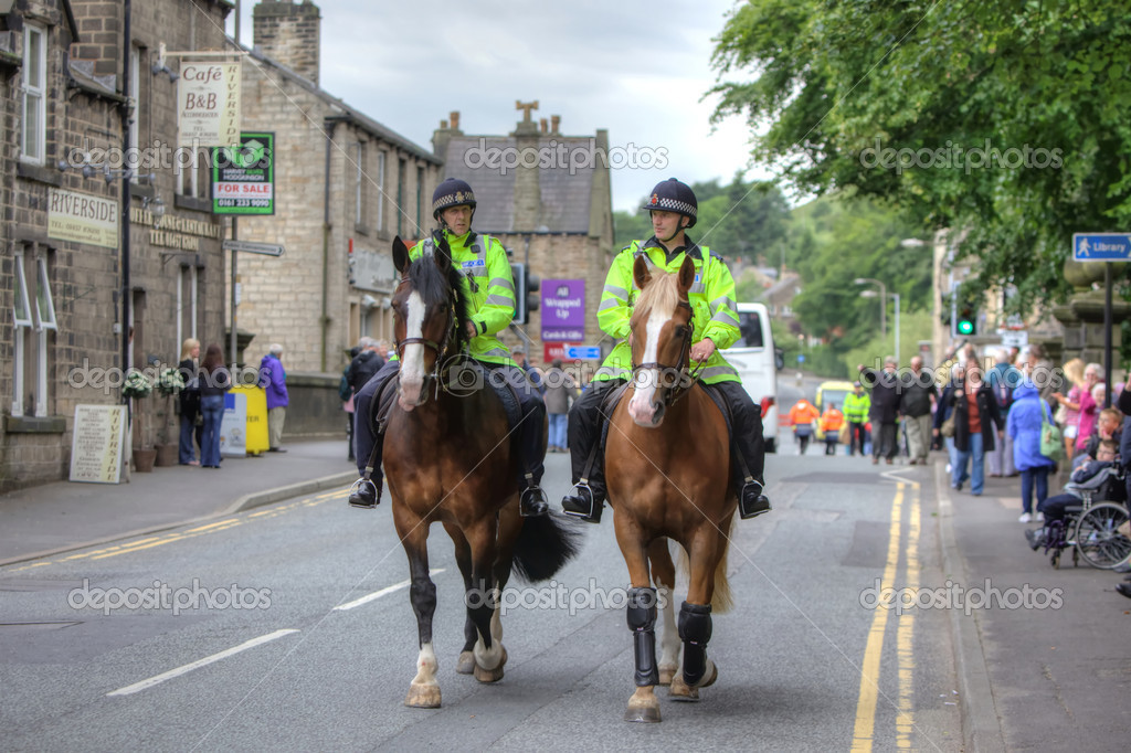 British policemen on horseback at the Brass Band Contest on June 17th, 2011 in Saddleworth, England. — Stock Photo #7852650
