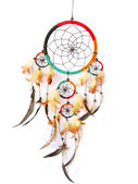A red,green and black dreamcatcher isolated in white. — Stock fotografie
