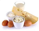 Dairy products, cheese and eggs — Stock Photo