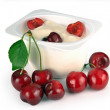 Yoghurt with cherry — Stock Photo