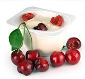 Yoghurt with cherry — Stock Photo