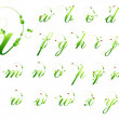 Ecology green pattern font alphabet with leafs and ladybird — Stock Vector