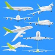 Collection set of airplane airbus isolated on blue - Stock Photo