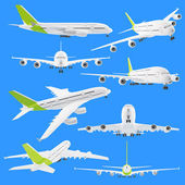 Collection set of airplane airbus isolated on blue — Stock Photo