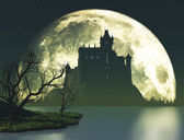 Halloween spooky castle on moon background — Stock Photo