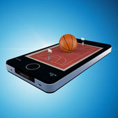 Smart phone, mobile telephone with basketball game — Stock Photo