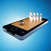 Smart phone, mobile telephone with bowling game — Stock Photo