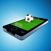 Smart phone, mobile telephone with soccer football game — Stock Photo