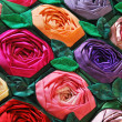 Patchwork quilt with flowers — Stock Photo