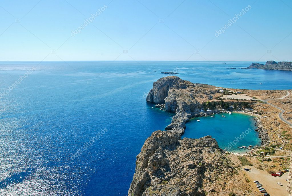 Greece, Rhodes Island, Lindos town, view from the acropolis of St.Pauls bay — Stock Photo #7185601