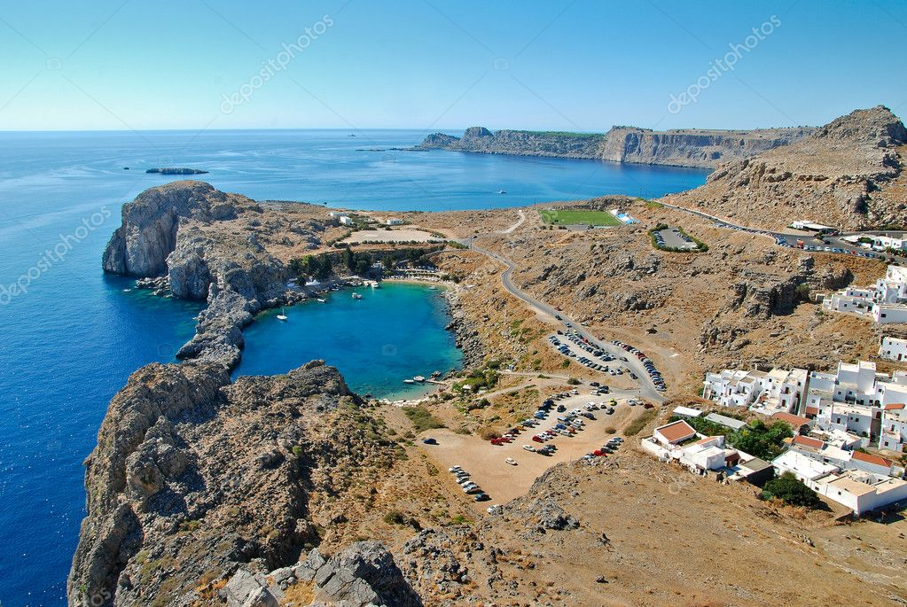 Greece, Rhodes Island, Lindos town, view from the acropolis of St.Pauls bay — Stock Photo #7185604