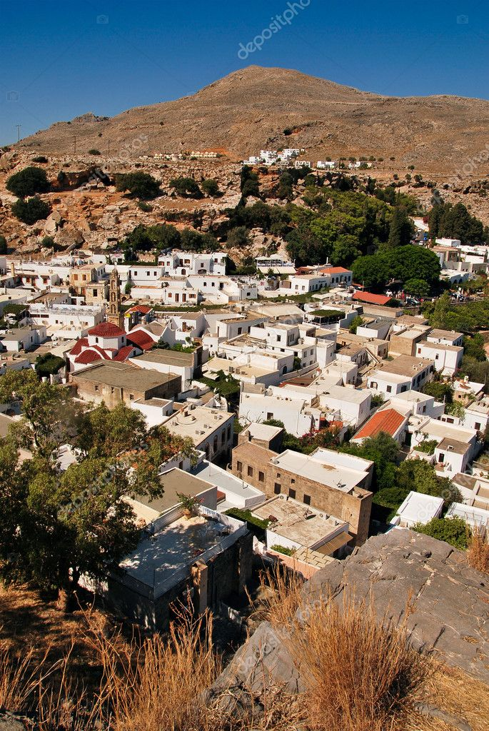 Panoramic view on Lindos town. Rhodes island. Greece  Stock Photo #7185607