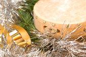 Tambourine Christmas card — Stock Photo