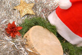Background christmas, santa claus and tambourine — Stock Photo