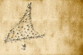Christmas Card, parchment gold fir — Stock Photo