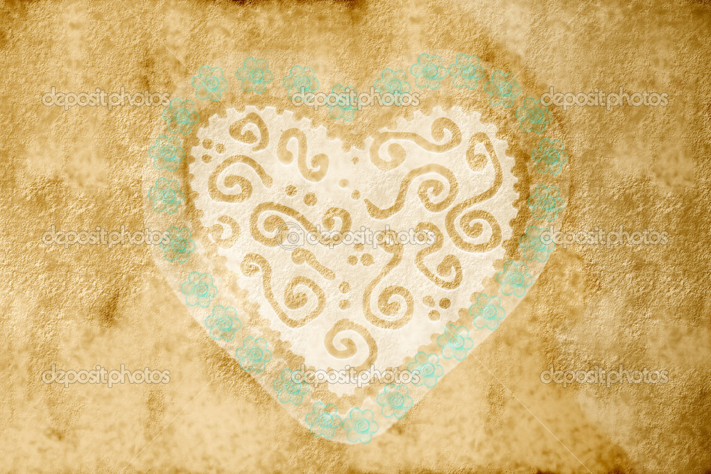 Sepia pattern card with great heart with blue flowers  Stock Photo #6898234