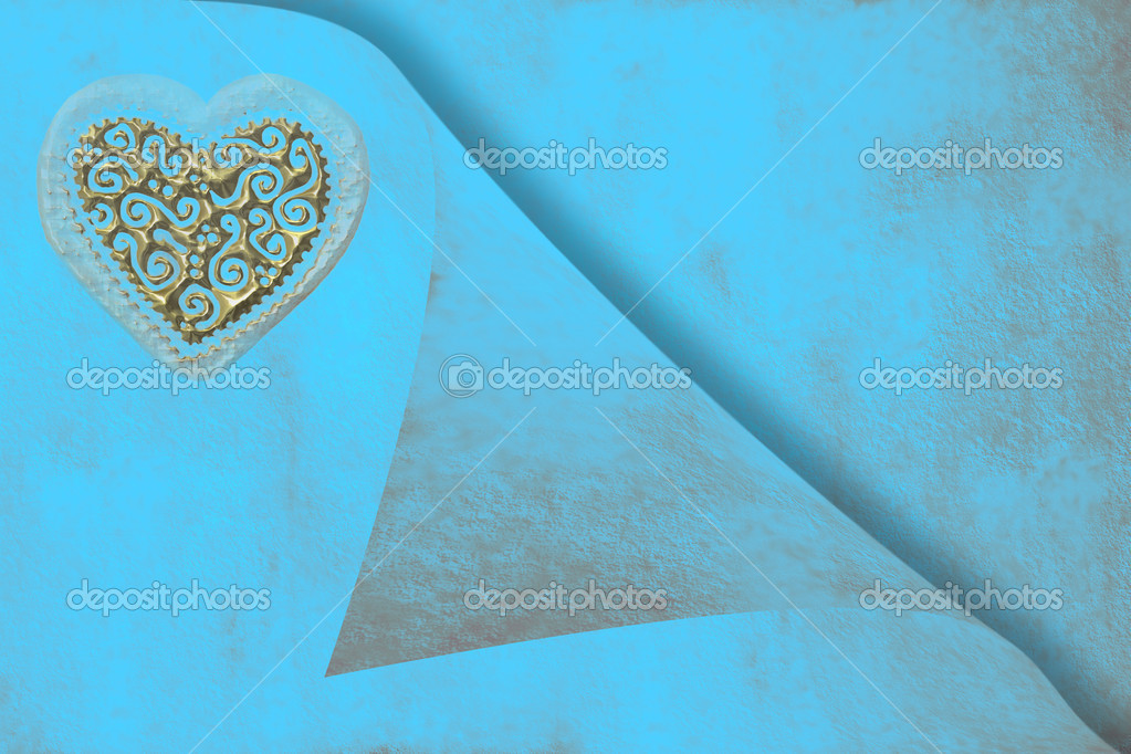 Wedding invitation card, gold heart on blue paper  Stock Photo #6918425