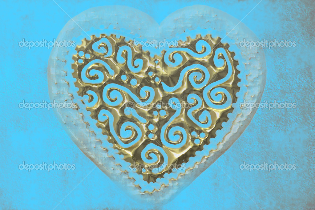 Transparent gold heart carved on a blue background — Stock Photo #6918459