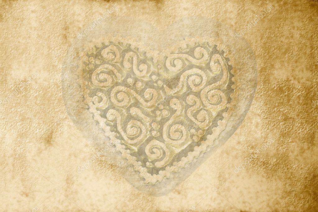 Sepia parchment background with a clear heart — Stock Photo #6918518