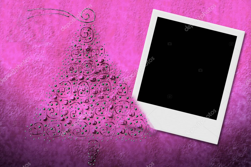Christmas background illustration on pink background with frame for instant photo and fir — Stock Photo #6937131