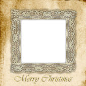 Old empty photo frame for Christmas — Stock Photo