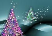 ель рождественскую открытку звезда — Стоковое фото