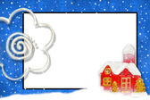 Christmas card with space for text snowy house — Stock Photo