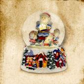 Old Christmas Card, Santa Claus ball of water — Stock Photo