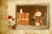 Christmas Cards Snowman country — Stock Photo