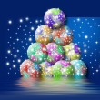 Christmas card tree planet earth - Stock Photo