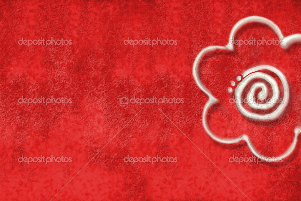 Red wall with a nice flower   Stock Photo #7300672