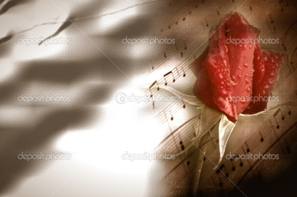 Background musical score and red rosebud on crumpled paper  — Stock Photo #7329403