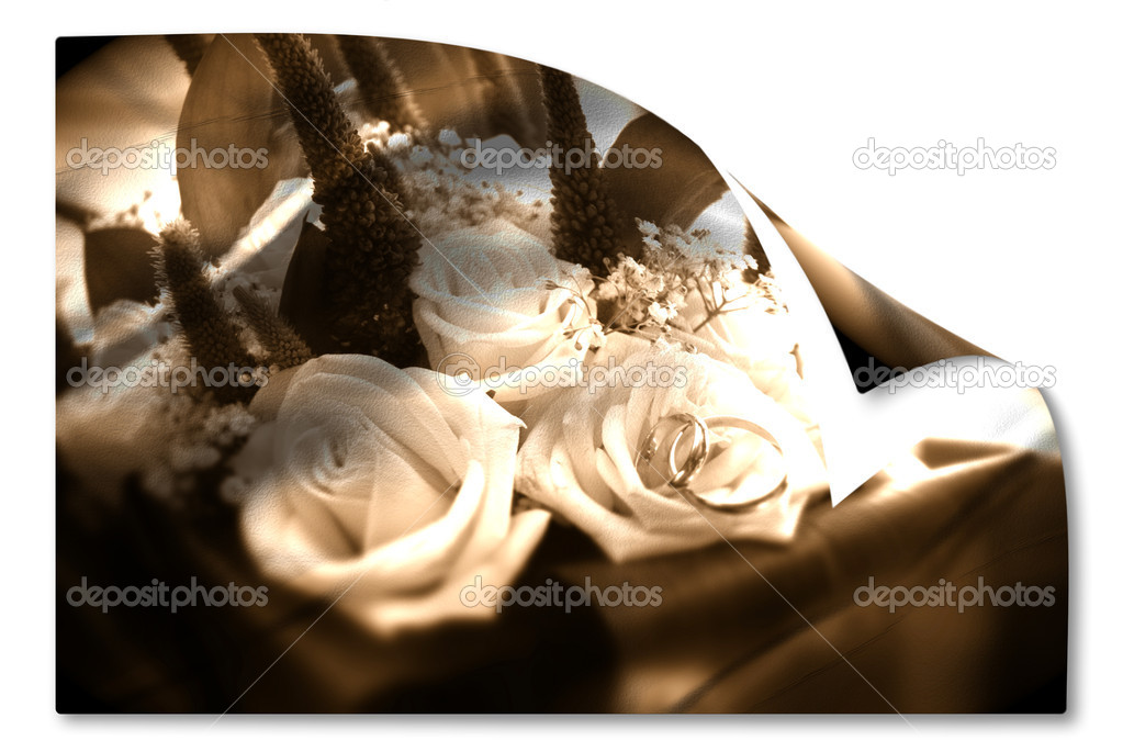 Bridal bouquet and partnerships in sepia isolated on white background  — Stock Photo #7329455