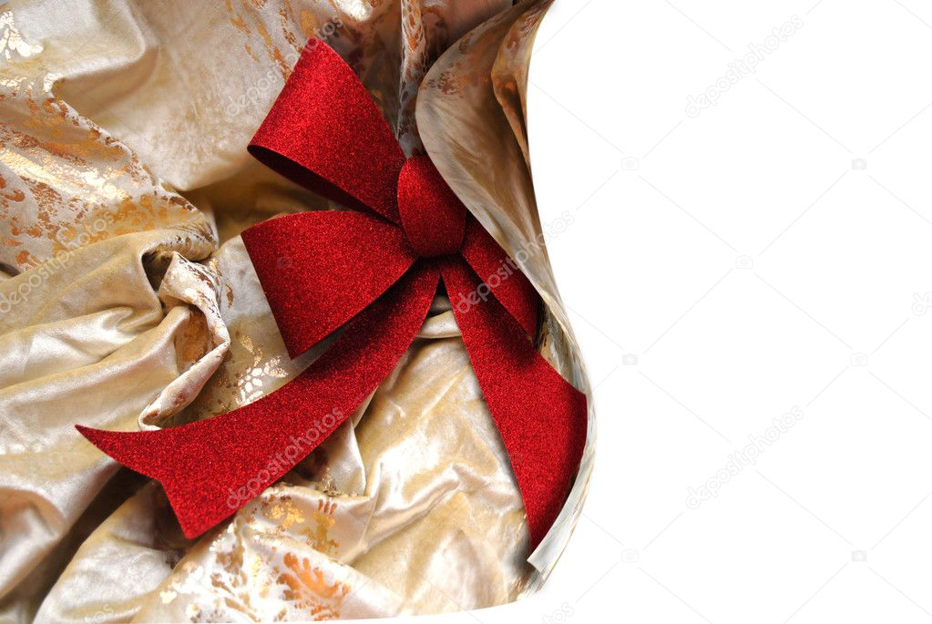 Postcard with red ribbon and white space for text  — Foto Stock #7329482