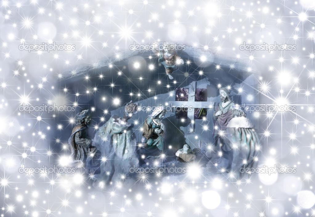 Christmas Card Nativity scene surrounded by stars — Stock Photo #7330313