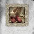 Stock Photo: Old card christmas candle and gifts