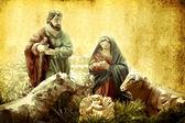 Christmas Cards, Nativity scene — Stock Photo