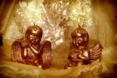 Kaarslicht kerst engelen — Stockfoto