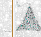 Silver Christmas tree card — Stock Photo