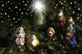Holy Family Christmas Cards and three wise men — Stock Photo