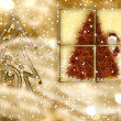 Christmas greeting card, Santa Claus in the golden evening — Stock Photo #7545861