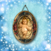 Dítě ježíš vánoční přání — Stock fotografie