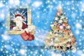 Christmas card, santa gifts leaving home — Stock Photo