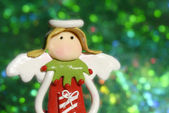 Christmas greeting cards, angel funny — Stock Photo