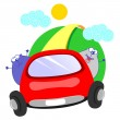 Cats and car — Stock Vector