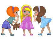 Three little children — Stock Vector